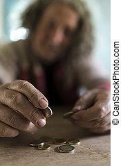 pobre, conceito, moedas, mãos sujas, contagem, homem