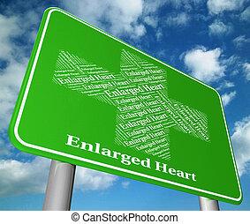 pobre, corazón, indica, engrandecido, salud, aflicción
