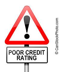 pobre, crédito, rating.