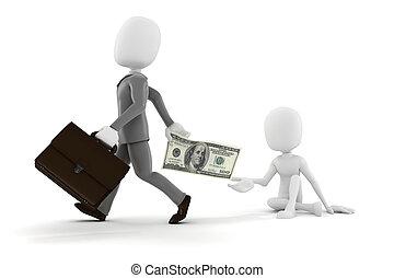pobre, dar dinero, algunos, hombre de negocios, tipo, hombre, 3d