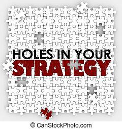 pobre, dirección, rompecabezas, agujeros, estrategia, malo, ...