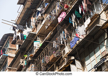 pobre, distrito, muy, wuhan, hogar, china