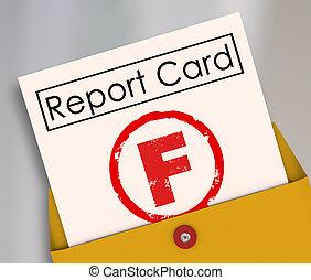 pobre, f, grado, defecto, fracaso, raya, informe, rendimiento, tarjeta
