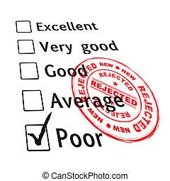 pobre, fallado, evaluación