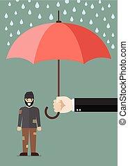 pobre, guarda-chuva, passe segurar, protegendo, homem