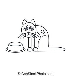 pobre, línea, gato, hambriento, icono