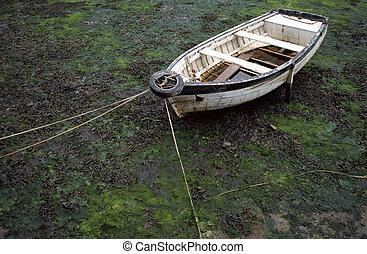 pobre, maré, condição, baixo, bote