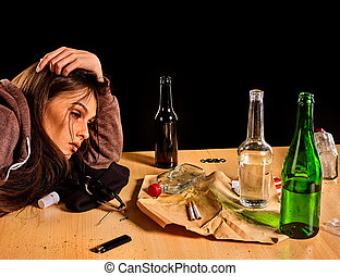 pobre, mujer, problema, hembra, social, bebida, causa,...