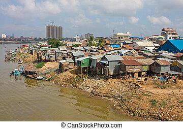 pobre,  penh, camboya, distrito,  Phnom