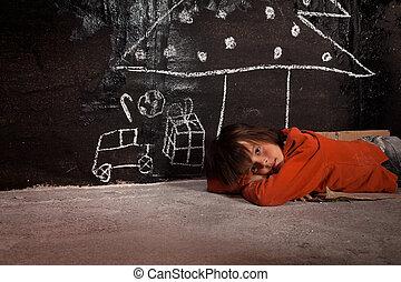 pobre, pensamiento, regalos, calle, navidad, niño