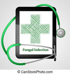 pobre, representa, fungal, infección, salud, aflicción