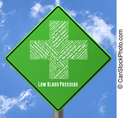 pobre, representa, presión, salud, bajo, anuncio, sangre