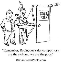 pobre, rico, ventas, competición