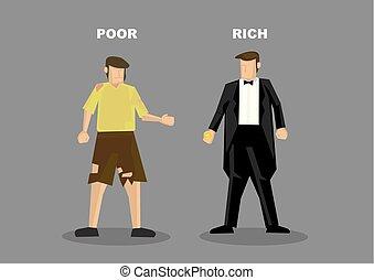 pobre, vetorial, ricos, ilustração, homem