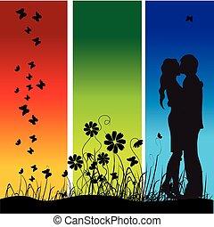 pocałunki, łąka, sylwetka, para, czarnoskóry