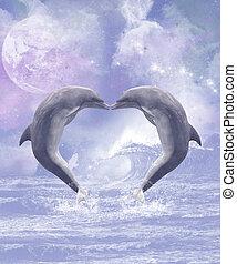pocałunki, delfiny
