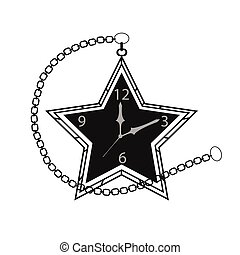 poche, étoile, retro, chaîne, horloge