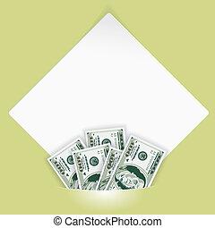 poche, blanc, papier, feuille, monté