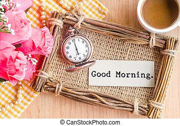poche, bon, montre, carte, matin