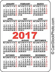 poche, calendrier, 2017
