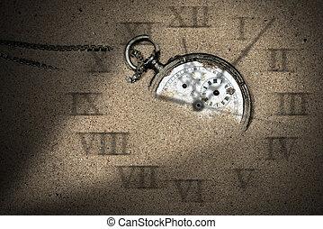 poche, cassé, sable, montre