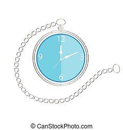 poche, chaîne, horloge
