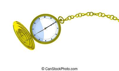 poche, chain., 3d, montre, rendre