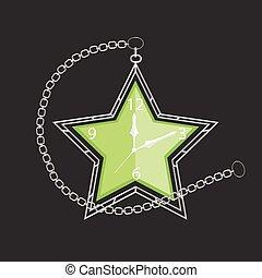 poche, forme, étoile, chaîne, horloge