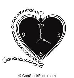 poche, forme coeur, retro, horloge
