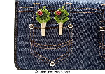 poche, jean, feuille trèfle
