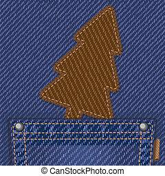 poche, jean, textile, arbre, noël
