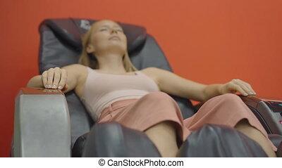 poche, jeune, chaise, automatique, masage, séance femme, coup