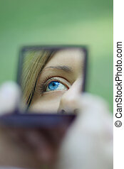 poche, oeil, reflété, femme, miroir