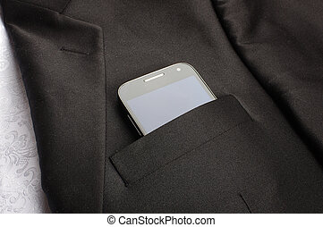 poche, téléphone, intelligent, homme affaires