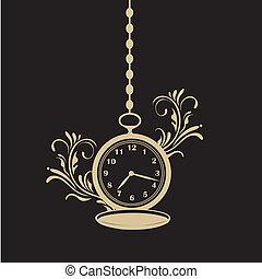 poche, texture, horloge