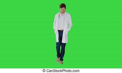 poches, écran, mains, blanc, vert, marche, chroma, docteur, ...