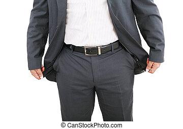 poches vides, homme affaires