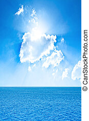pochmurne niebo, i, ocean