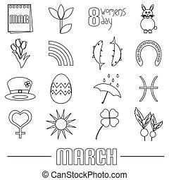 pochod, měsíc, námět, dát, o, jednoduchý, nárys, ikona, eps10