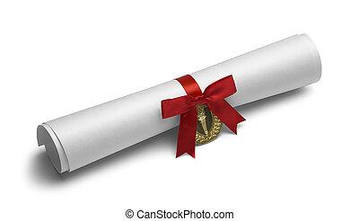 pochodnia, dyplom, czerwony łuk