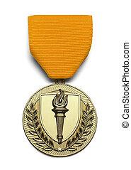 pochodnia, medal, tarcza