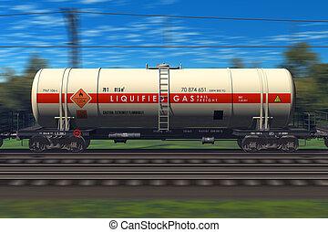 pociąg, benzyna, zbiornikowiec, fracht