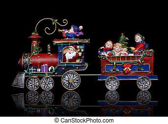 pociąg, boże narodzenie, święty