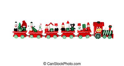 pociąg, boże narodzenie, czerwony