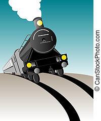 pociąg, do góry, nadchodzący, para