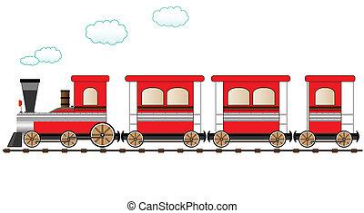pociąg, ruchomy, czerwony