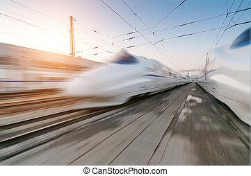 pociąg, ruchomy, mocny