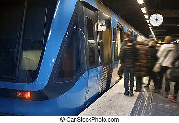 pociąg stacja, sztokholm, metro