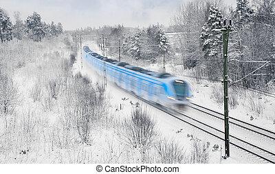 pociąg, w, śnieg