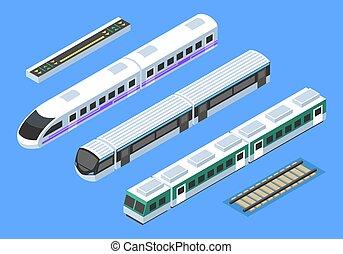 pociąg, wektor, sztuka, isometric, zacisk